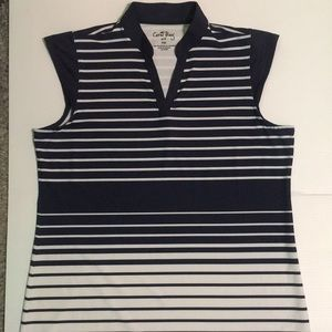 Golf T-Shirt  Sz PM Coral Bay Navy and White